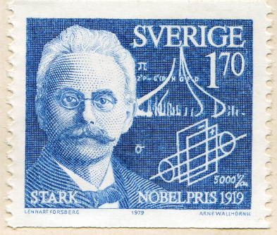 Schwedische Briefmarke 60 Jahre Nobelpreis Johannes Stark